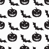 Monochrome bats and pumpkins seamless pattern vector illustration Stock Photography