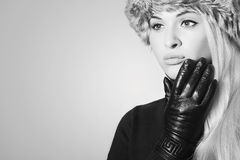 Monochrome Beautiful Blond Girl in Leather Gloves Royalty Free Stock Images