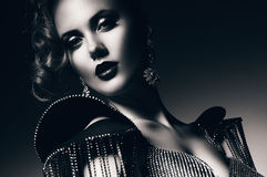 Monochrome beautiful woman with rhinestones royalty free stock images