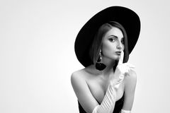 Monochrome beauty shots of an elegant woman in a hat Royalty Free Stock Image