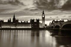Monochrome Big Ben London. Monochrome Big Ben and London at night, London and England Stock Image