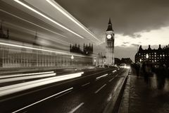 Monochrome Big Ben London. Monochrome Big Ben and London at night with the lights of the cars passing by after rain, London and England Stock Photos