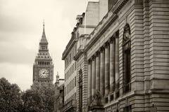 Monochrome Big Ben London. Monochrome Big Ben and London with overcast sky, United Kingdom,uk Royalty Free Stock Photo