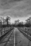 Monochrome Bike Path with Fence. Monochrome landscape of a fence lined bike path Royalty Free Stock Image