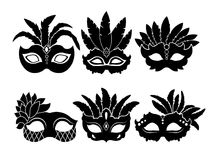 Monochrome black illustrations of carnival masks isolated on white background vector illustration