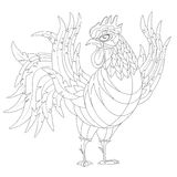 Monochrome black and white cartoon rooster, symbol of 2017 year. By eastern calendar. Isolated on white. Hand-drawn contour lines vector Illustration Royalty Free Stock Images