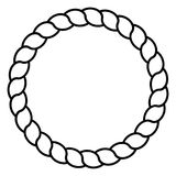 Monochrome black and white circle rope frame line art isolated vector.  Stock Photo