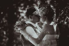 Monochrome black and white photo of the wedding the bride and groom portrait Stock Image
