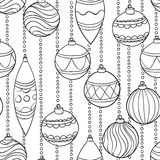 Monochrome, black and white seamless Pattern With Christmas Balls Stock Photography