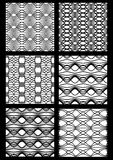 Monochrome black and white seamless patterns. Vector colection of art deco patterns. Geometric vintage stripe ornaments, vector eps10 stock illustration