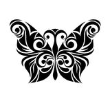 Monochrome black and white stylized butterfly. Stock Images