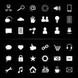 Monochrome blanc de media de bouton social d'icône Photos stock