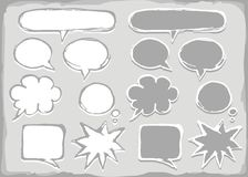 Monochrome blank speech bubble set Royalty Free Stock Images