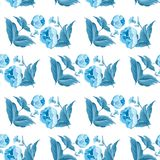 Monochrome blue seamless watercolor flower pattern with roses and leaf. Vector EPS 10. Monochrome blue seamless watercolor flower pattern with roses and leaf Stock Photography