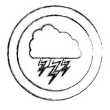 Monochrome blurred circular frame with cloud with lightnings Royalty Free Stock Photography