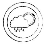 monochrome blurred circular frame with cloud with rain and sun Stock Images