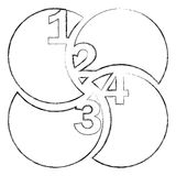 monochrome blurred contour of circular figures with numeration Royalty Free Stock Photos