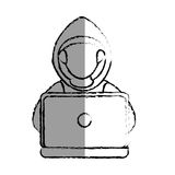 Monochrome blurred contour with hacker faceless and laptop royalty free illustration