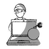 Monochrome blurred contour with hacker and laptop and bomb Stock Images