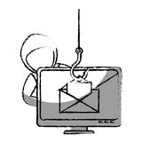 Monochrome blurred contour with hacker stealing mail information Royalty Free Stock Photo
