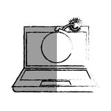 Monochrome blurred contour of laptop computer with virus bomb on screen Royalty Free Stock Image