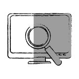Monochrome blurred contour with lcd monitor and virus scanning. Vector illustration Stock Photos