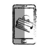 Monochrome blurred contour with stealing credit card in cell phone Stock Photos