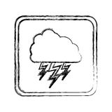 Monochrome blurred square frame with cloud with lightnings Royalty Free Stock Image