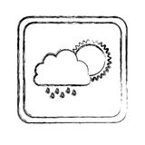 monochrome blurred square frame with cloud with rain and sun Stock Image