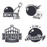 Monochrome bowling themed labels. Set of monochrome bowling themed labels badges and design templates. Vector illustration in vintage style Royalty Free Stock Photography