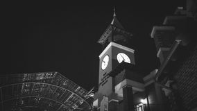 Monochrome of brick clock tower Royalty Free Stock Photos