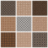 Monochrome brown vintage style tiles seamless patterns set. Royalty Free Stock Images
