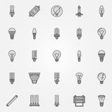 Monochrome bulb icons Stock Images