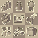 Monochrome business icons Stock Images