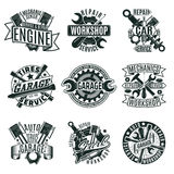 Monochrome Car Repair Service Logos Set. With mechanic tools and equipment in vintage style isolated vector illustration Royalty Free Stock Images