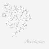 Monochrome card with rose. Decorative monochrome card with ornate rose Stock Image