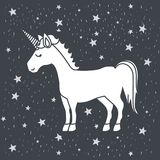 Monochrome caricature of male unicorn in starry heaven Royalty Free Stock Photo