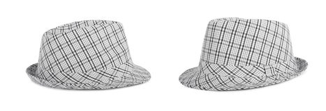 Monochrome checked hat for the summer on  background Stock Photo