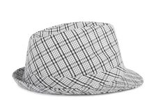 Monochrome checked hat for the summer Stock Photo