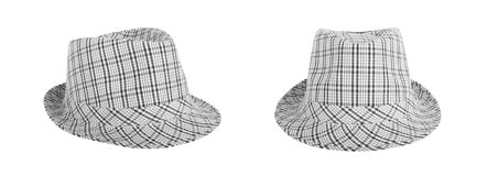 Monochrome checked hat for the summer on an isolated background Royalty Free Stock Images