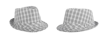 Monochrome checked hat for the summer on an isolated background Stock Photo