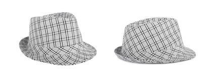 Monochrome checked hat for the summer on an isolated background Stock Images