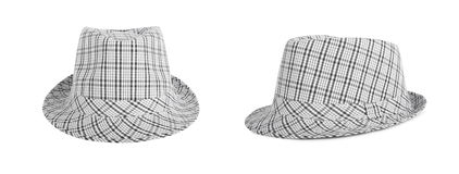 Monochrome checked hat for the summer on an isolated background Royalty Free Stock Photo