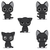 Monochrome chibi kittens Royalty Free Stock Images
