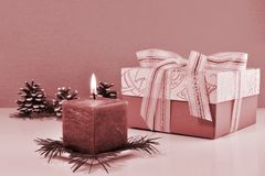 Monochrome Christmas background, vintage greeting card with burning candle Stock Images