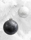 Monochrome Christmas baubles. Royalty Free Stock Photo