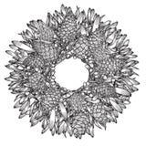 Monochrome Christmas wreath. Royalty Free Stock Photos