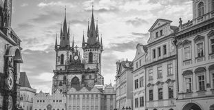 Monochrome Church of our Lady Prague Royalty Free Stock Photo