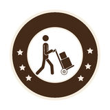 Monochrome circle frame with messenger with hand truck and packages Stock Image