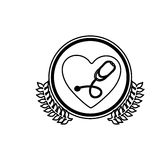 Monochrome circle with olive branchs and heart with stethoscope inside. Illustration Stock Image